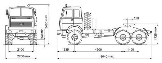 Автомобиль МАЗ 642205-230  Техническая характеристика, габаритные размеры
