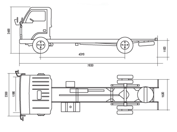 Автомобиль YUEJIN NJ1080DAW  Техническая характеристика, габаритные размеры