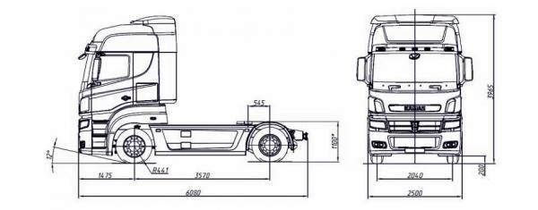 Автомобиль КАМАЗ 5490  Техническая характеристика, габаритные размеры
