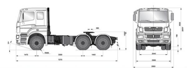 Автомобиль КАМАЗ 65206  Техническая характеристика, габаритные размеры