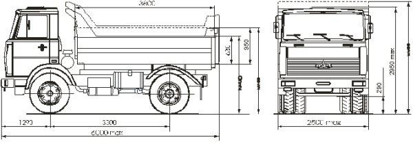Автомобиль МАЗ 555402-220  Техническая характеристика, габаритные размеры
