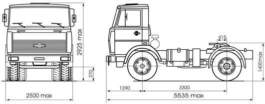 Автомобиль МАЗ 543302-220, 221, 222  Техническая характеристика, габаритные размеры