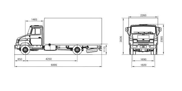 Автомобиль ЗиЛ 5301E3  Техническая характеристика, габаритные размеры