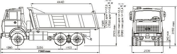 Автомобиль МАЗ 551605-230,-280  Техническая характеристика, габаритные размеры