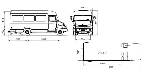 Автомобиль ЗиЛ 5301P1  Техническая характеристика, габаритные размеры