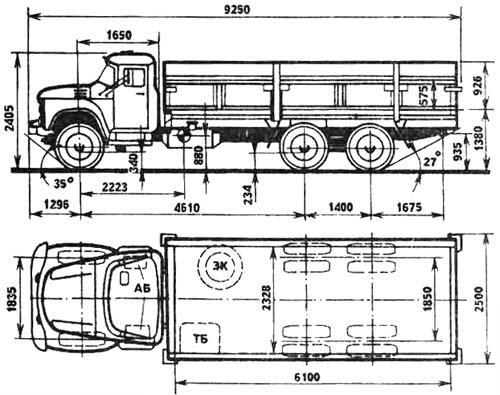 Автомобиль ЗиЛ 133ГЯ  Техническая характеристика, габаритные размеры