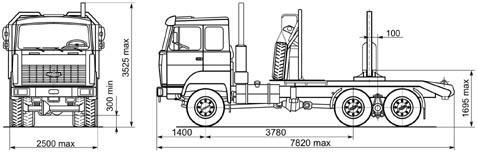 Автомобиль МАЗ 641808,641810  Техническая характеристика, габаритные размеры