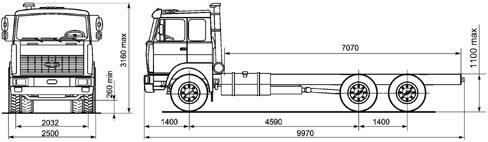 Автомобиль МАЗ 630305-240,245  Техническая характеристика, габаритные размеры