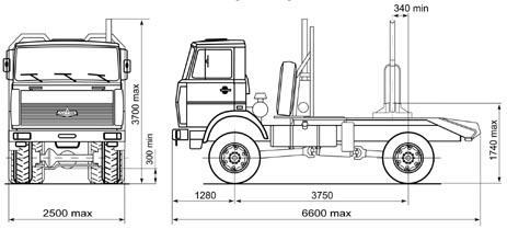 Автомобиль МАЗ 543403-220  Техническая характеристика, габаритные размеры