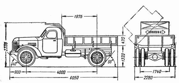 Автомобиль КАЗ 600  Техническая характеристика, габаритные размеры