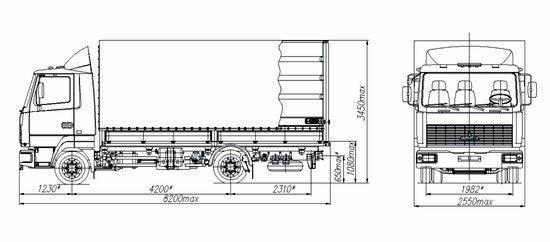 Автомобиль МАЗ 437141-277,-237  Техническая характеристика, габаритные размеры
