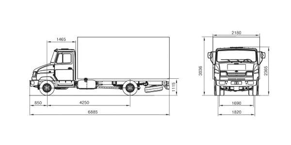 Автомобиль ЗиЛ 5301E4  Техническая характеристика, габаритные размеры
