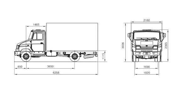 Автомобиль ЗиЛ 5301B4  Техническая характеристика, габаритные размеры