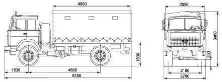 Автомобиль МАЗ 531605-220  Техническая характеристика, габаритные размеры