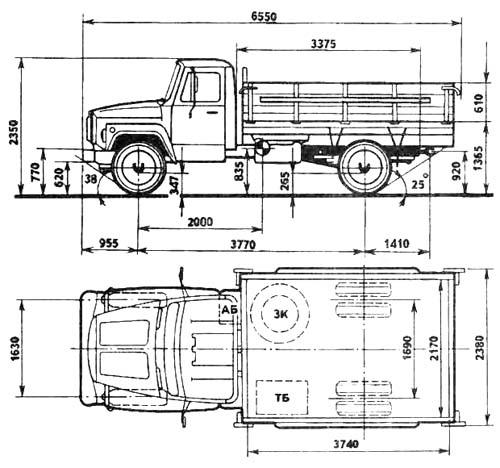 Автомобиль ГАЗ 3307  Техническая характеристика, габаритные размеры