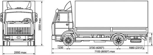 Автомобиль МАЗ 437041-221,222,261,262  Техническая характеристика, габаритные размеры