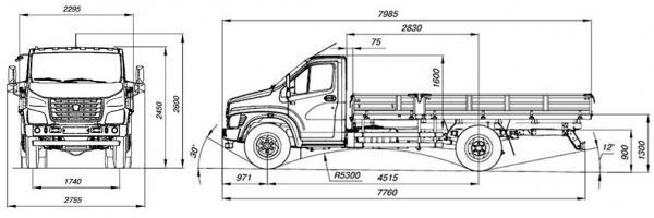 Автомобиль ГАЗ Газон-Next C41R31   Техническая характеристика, габаритные размеры