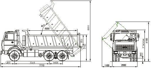 Автомобиль МАЗ 551605-275  Техническая характеристика, габаритные размеры