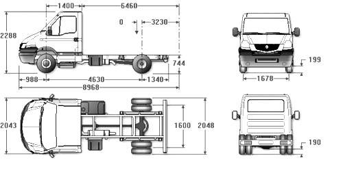Автомобиль Renault Mascott 120.50 CHASSIS CABINE  Техническая характеристика, габаритные размеры