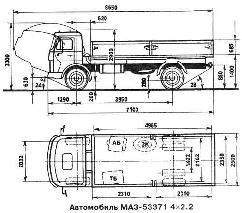 Автомобиль МАЗ 53371  Техническая характеристика, габаритные размеры