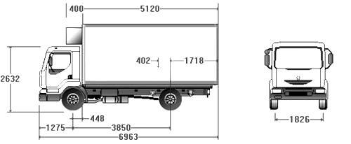 Автомобиль Renault Midlum 150.08/B DCI.4 Thermo King  Техническая характеристика, габаритные размеры