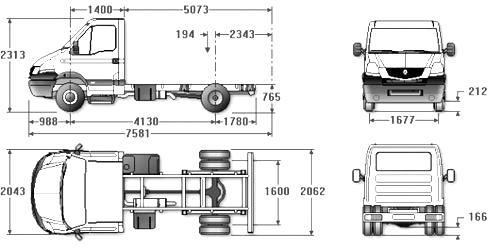 Автомобиль Renault Mascott  120.65 CHASSIS CABINE  Техническая характеристика, габаритные размеры