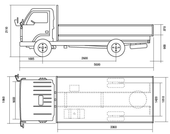Автомобиль YUEJIN NJ1020DF  Техническая характеристика, габаритные размеры