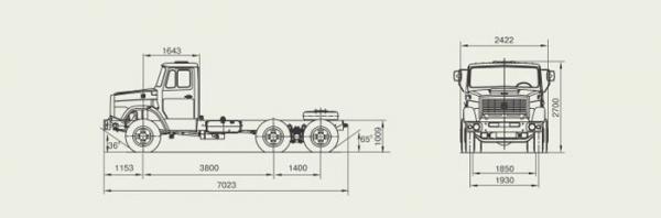 Автомобиль ЗиЛ 452222  Техническая характеристика, габаритные размеры