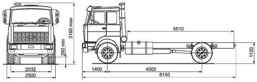 Автомобиль МАЗ 533605-240(245)  Техническая характеристика, габаритные размеры