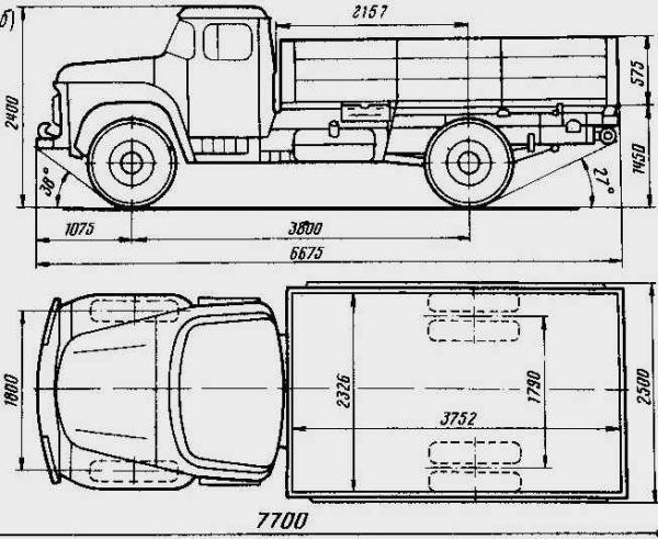 Автомобиль ЗиЛ 130  Техническая характеристика, габаритные размеры