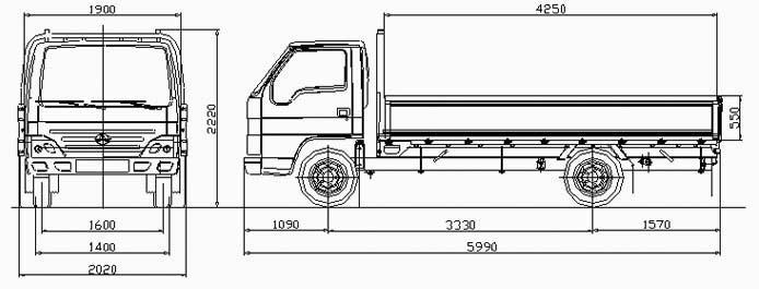 Автомобиль BAW Fenix 1044Y  Техническая характеристика, габаритные размеры