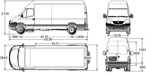 Автомобиль Renault Maskott 120.35 VAN  Техническая характеристика, габаритные размеры