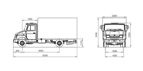 Автомобиль ЗиЛ 5301В3  Техническая характеристика, габаритные размеры
