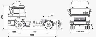 Автомобиль МАЗ-MAN 543268  Техническая характеристика, габаритные размеры