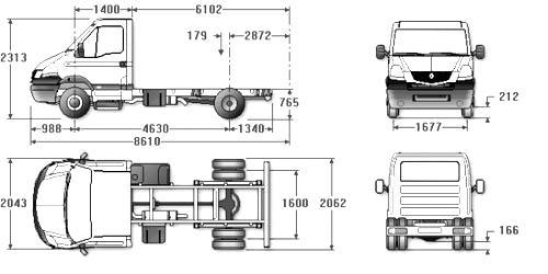 Автомобиль Renault Maskott 120.35  Техническая характеристика, габаритные размеры