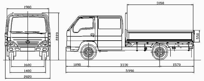 Автомобиль BAW Fenix 1044E  Техническая характеристика, габаритные размеры