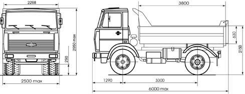 Автомобиль МАЗ 555102-220,-223  Техническая характеристика, габаритные размеры