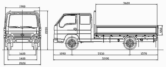 Автомобиль BAW Fenix 1044F  Техническая характеристика, габаритные размеры