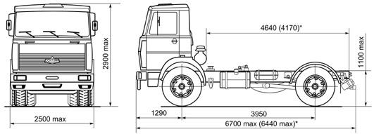Автомобиль МАЗ 544004  Техническая характеристика, габаритные размеры
