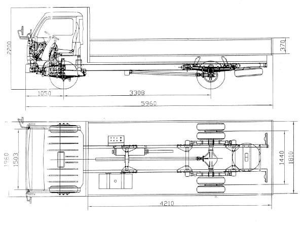 Автомобиль YUEJIN NJ1041DBZ  Техническая характеристика, габаритные размеры