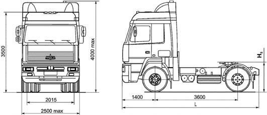 Автомобиль МАЗ 544008-002-011,030-002,060-002  Техническая характеристика, габаритные размеры