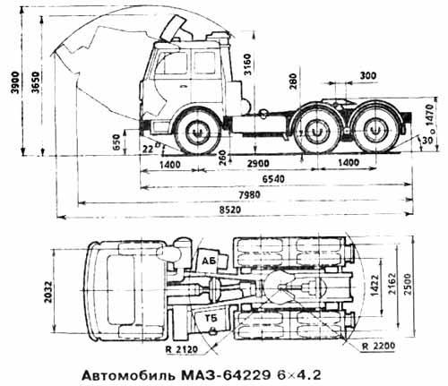 Автомобиль МАЗ 64229  Техническая характеристика, габаритные размеры
