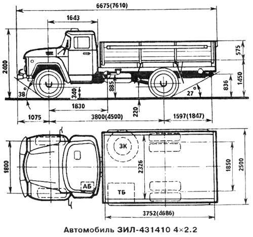 Автомобиль ЗиЛ 431410  Техническая характеристика, габаритные размеры