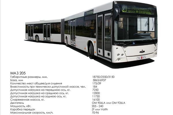 МАЗ представляет новую модель автобуса особо большого класса МАЗ 205