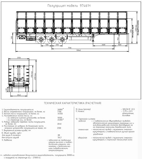 «Тонар»-97461Н для перевозки зерновых культур
