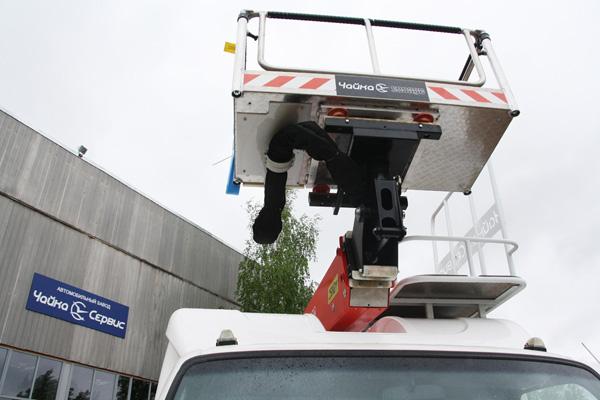 Автогидроподъёмник Чайка-Socage на базе Hyundai HD-78 c двухрядной 7-местной кабиной «Чайка-7М»