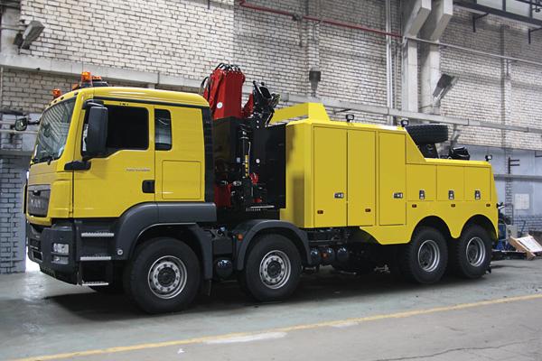 Новинка! Тяжелый грузовой эвакуатор с частичной погрузкой на базе MAN TGS 41.480 (8х4)