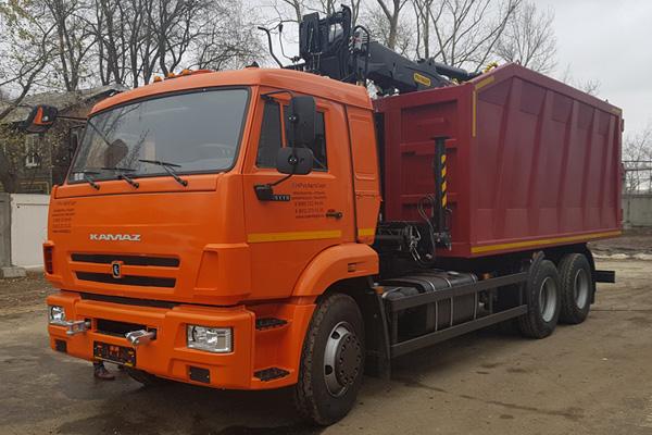 Ломовоз КамАЗ 65115 с КМУ Велмаш VM10L74